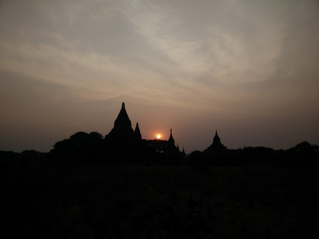 Sunset over temples of Bagan.