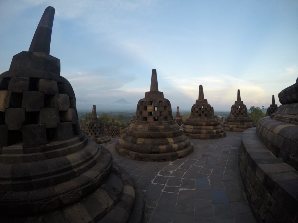 Borobudur's bells at the top.