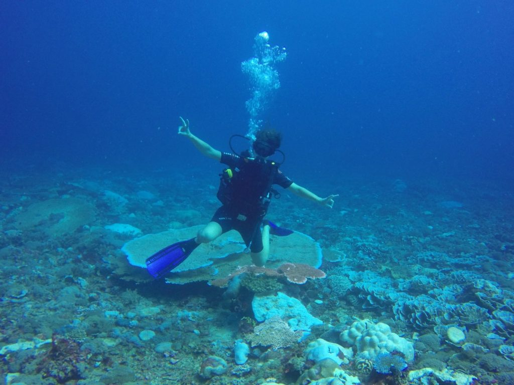 Goofing under water.