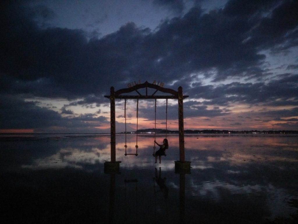 At the Gili Air swing at sunset.