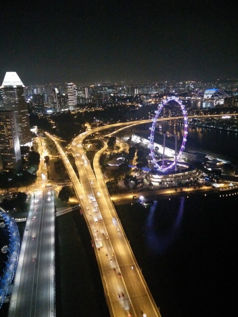 View of Singapore's ferris wheel from up top.