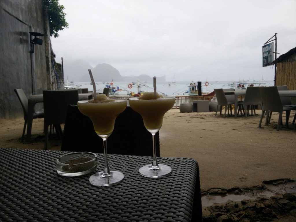 Cocktails on a rainy day.