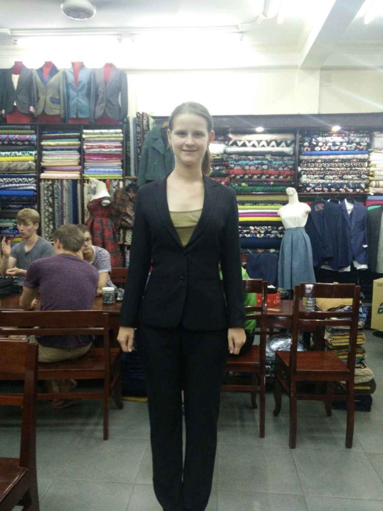 One of my suit fitting sessions. Trying on a suit whilst drenched in sweat is not much fun.